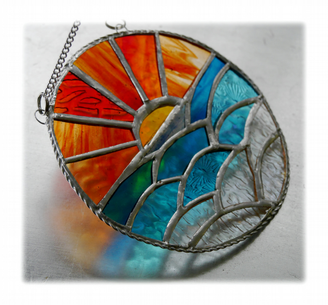 RESERVED Sunset Ocean Waves Stained Glass Suncatcher 005