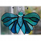 Teal Butterfly Suncatcher Stained Glass Handmade Turquoise 085