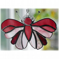 Cranberry Butterfly Suncatcher Stained Glass Handmade 086