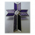 Cross Suncatcher Stained Glass Handmade purple Crystal 035