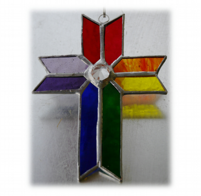 Cross Suncatcher Stained Glass Handmade Rainbow Crystal 036