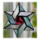 Star of David Magen Suncatcher Stained Glass  Pastel