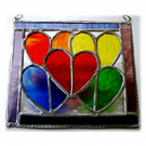 Rainbow Hearts Picture Stained Glass Suncatcher 002