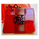 Fused Glass Trivet Trivet 16cm Dichroic Red 008