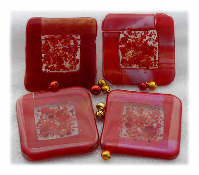 Fused Glass Coasters Set of 4 8cm Red
