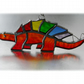 Dinosaur Suncatcher Stained Glass Stegosaurus Red 025