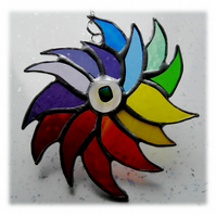 Funky Rainbow Bird Suncatcher Stained Glass 002