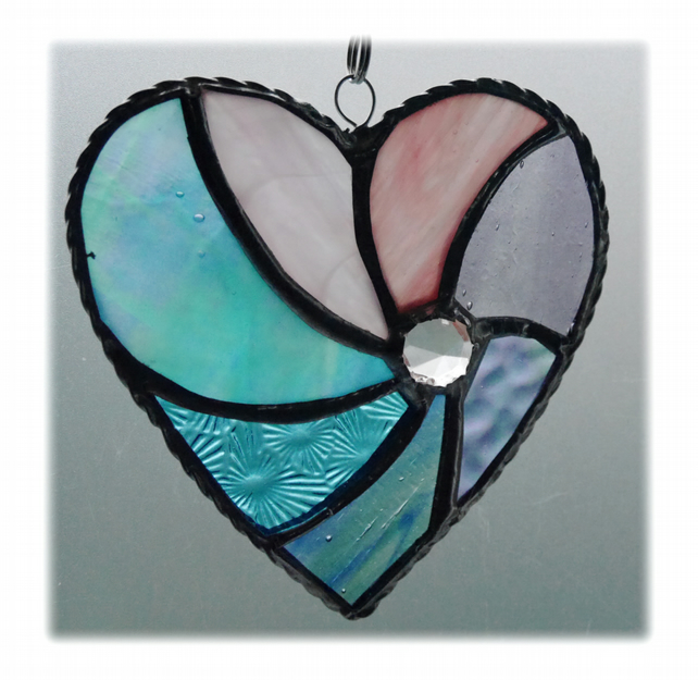 Pastel Swirl Heart Stained Glass Suncatcher 011