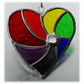 Rainbow Swirl Heart Stained Glass Suncatcher 010