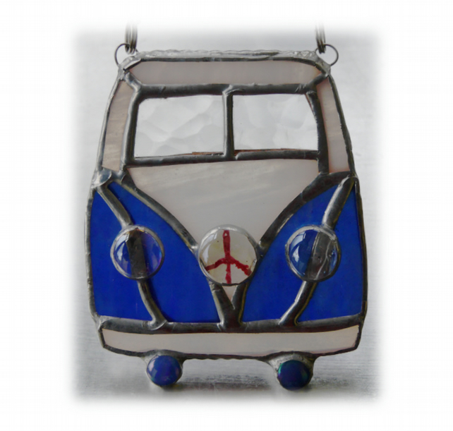 Campervan Suncatcher Stained Glass Blue 035