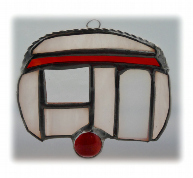 Caravan Suncatcher Stained Glass Mini Red 025