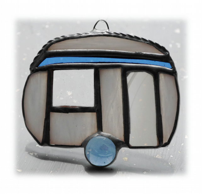 Caravan Suncatcher Stained Glass Mini Blue 026