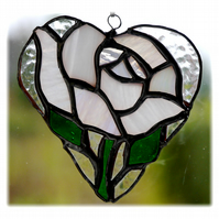 White Rose Heart Suncatcher Stained Glass 013
