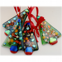 Christmas Tree Fused Glass Hanging Decoration 9cm Dichroic