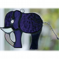 Elephant Suncatcher Stained Glass Purple 085