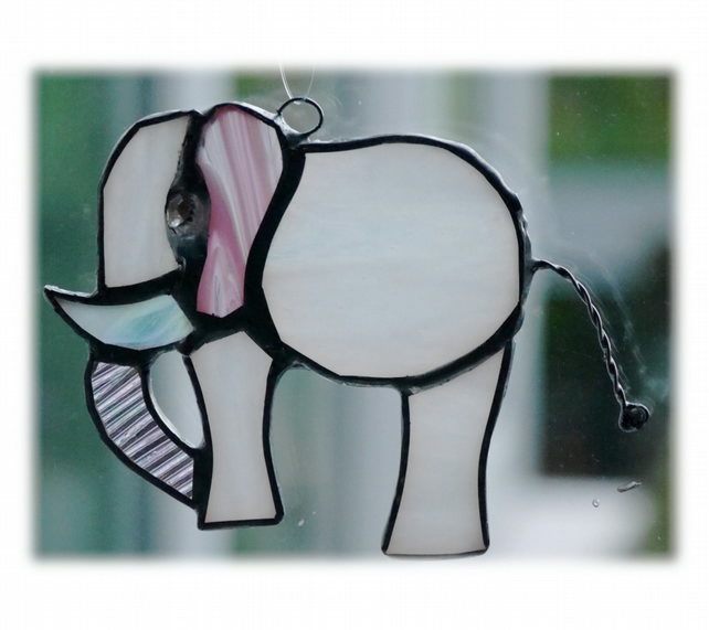 Elephant Suncatcher Stained Glass White 084