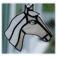 Horse Suncatcher Stained Glass Horsehead Palomino light 082