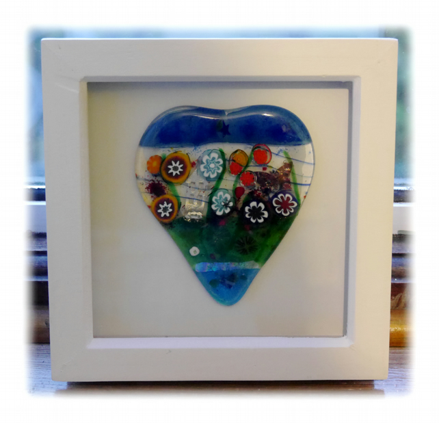 Flower Garden Heart in Box Frame Fused Glass Picture 006 silver house