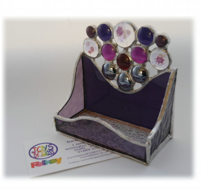 Business Card Holder Handmade Stained Glass Purple 013