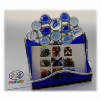 Business Card Holder Handmade Stained Glass Blue 014