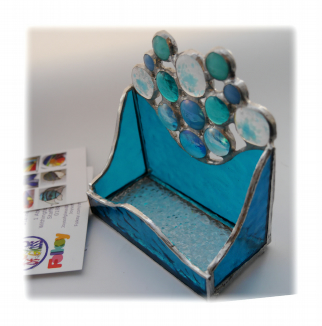 Business Card Holder Handmade Stained Glass Aqua 015