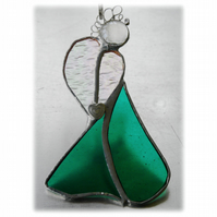 Angel Suncatcher Stained Glass Heart Emerald Green Christmas 013