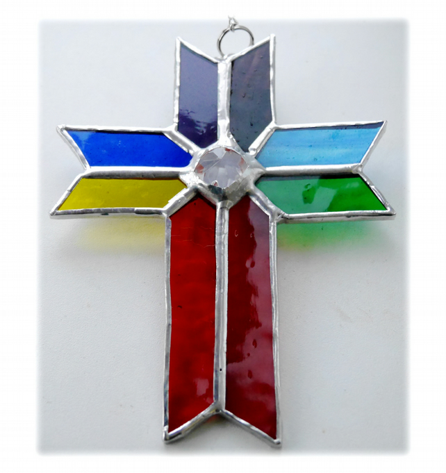 Cross Suncatcher Stained Glass Handmade Rainbow Crystal 038