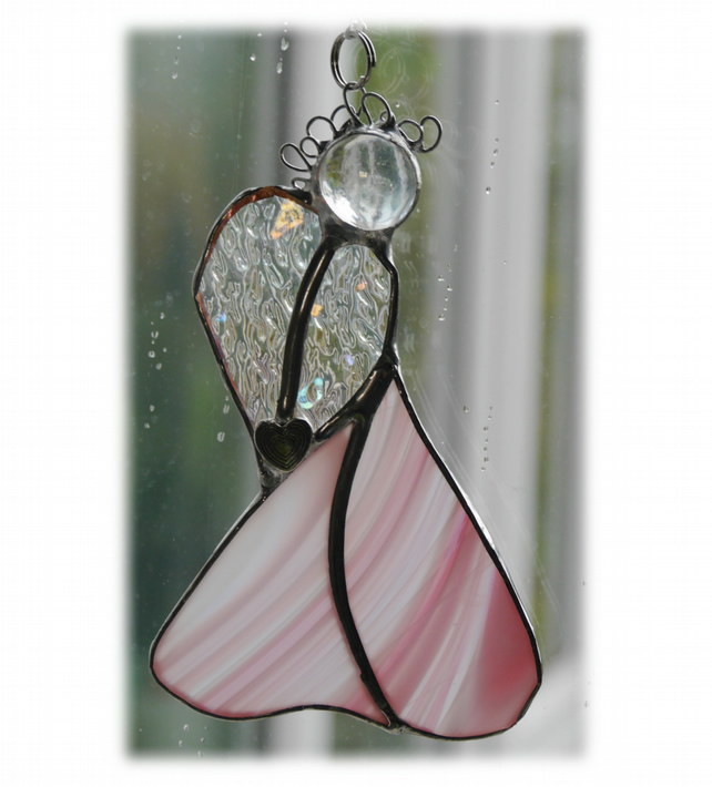 Angel Suncatcher Stained Glass Heart Pink Christmas 014