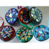 Jewel Fused Glass Christmas Tree Decoration Dichroic