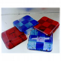 Fused Glass Coaster 8cm  Blue or  Red squared