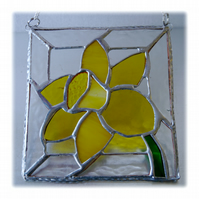 Daffodil Stained Glass Framed Suncatcher Spring Flower 020