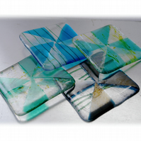 Fused Glass Coaster 8cm Aqua Turquoise Triangle design