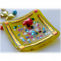 Fused Glass Trinket Dish 8cm Yellow Dichroic 027