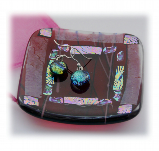 Fused Glass Trinket Dish 8cm  Cranberry Bordered Dichroic 025