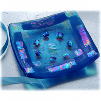 Fused Glass Trinket Dish 8.5cm Turquoise Dichroic Bordered 026