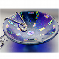 Fused Glass Bowl Round 12.5cm Blue Dichroic 036