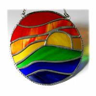 Rainbow Sunset Waves Stained Glass Suncatcher 005