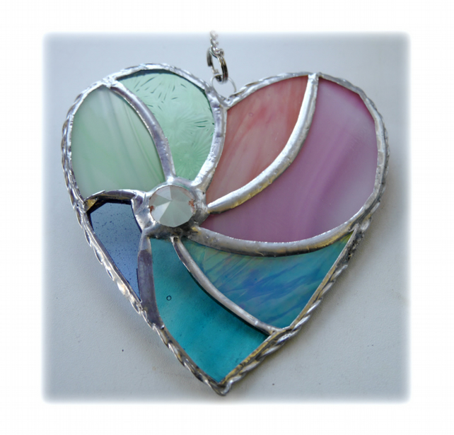 Pastel Swirl Heart Stained Glass Suncatcher 014