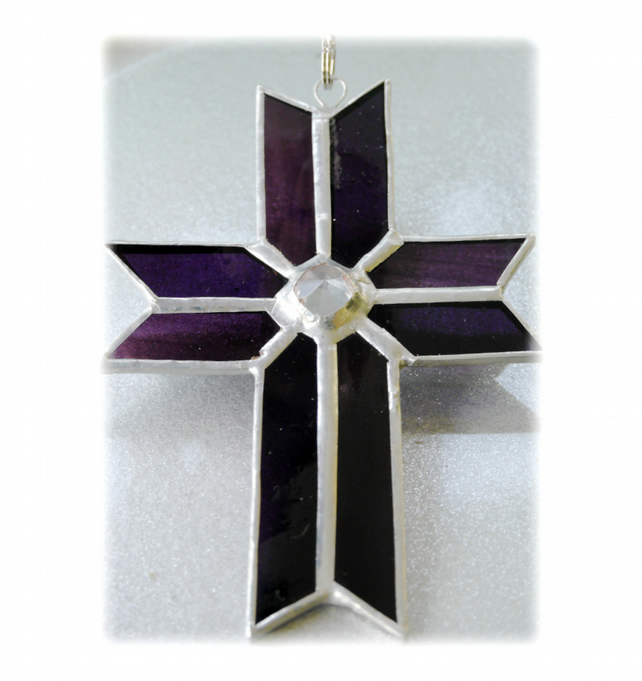 Cross Suncatcher Stained Glass Handmade purple Crystal 041