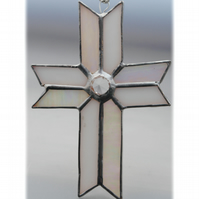 Cross Suncatcher Stained Glass Handmade white Crystal 042