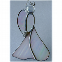 Angel Suncatcher Stained Glass Heart White Christmas 017