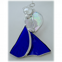 Angel Suncatcher Stained Glass Heart Blue Christmas 018