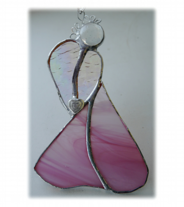 Angel Suncatcher Stained Glass Heart Pink Christmas 016