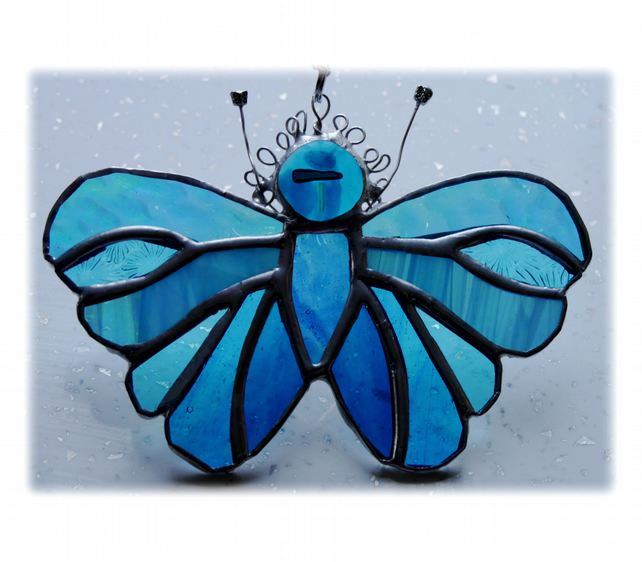 Teal Butterfly Suncatcher Stained Glass Handmade Turquoise 086