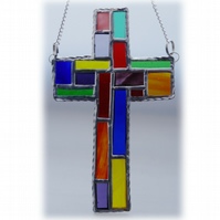 Cross Suncatcher Stained Glass  Patchwork Rainbow Handmade 025