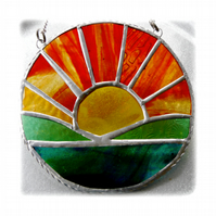 Sunrise Picture Stained Glass Suncatcher Handmade Sun Ring 029