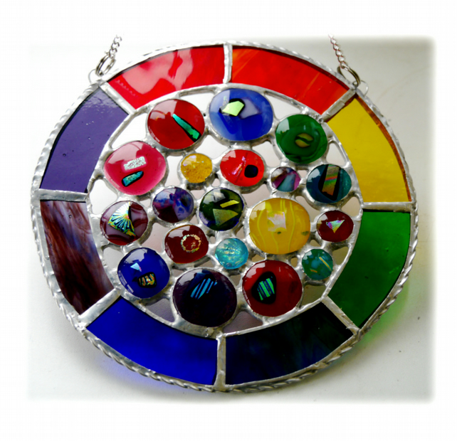 Rainbow Circles Suncatcher Stained Glass Handmade fused 017