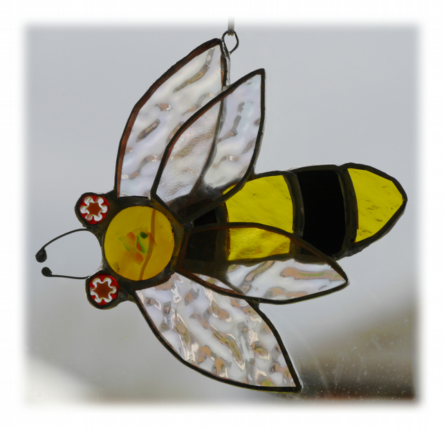 Bee Suncatcher Stained Glass Bumble Queen 023