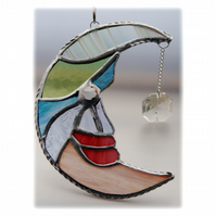 Moon Star Suncatcher Stained Glass Pastel