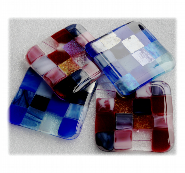 Fused Glass Coaster 8cm patchwork pink blue